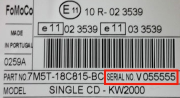 How To Find Your Ford V Serial Number Label On Your Ford KA Radio .